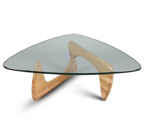 Isamu Noguchi Coffee Table Replica tempering glass top with wood base